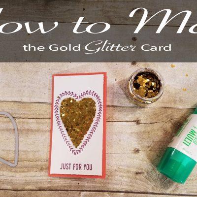 Valentines Gold Glitter Card